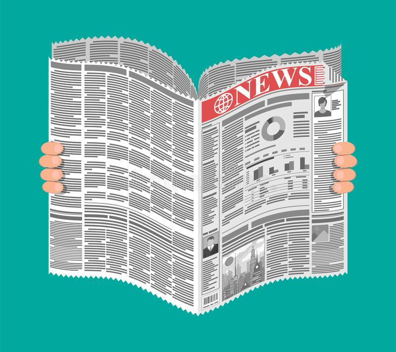 Daily newspaper in hands. News journal design. Pages with various headlines, images, quotes, text and articles. Media, journalism and press. Vector royalty free illustration