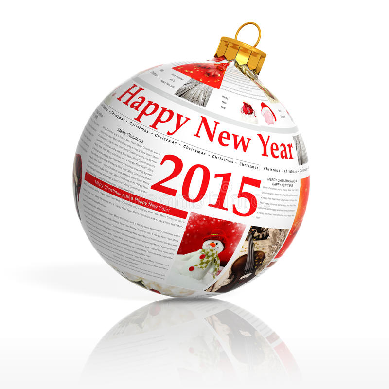 Newspaper happy new year 2015 ball royalty free stock photo