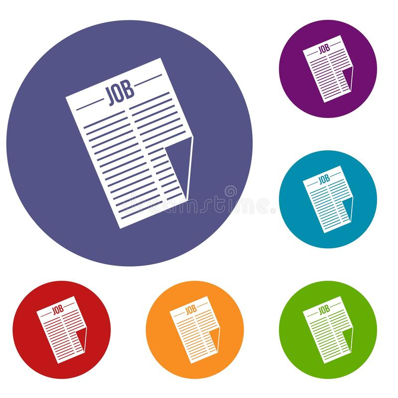 Newspaper with the headline Job icons set royalty free illustration