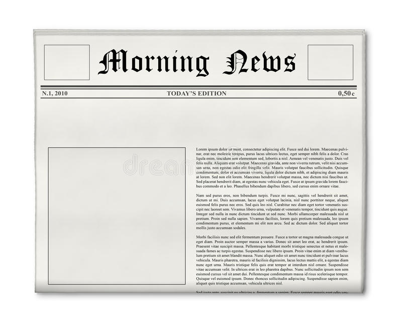 Newspaper Headline And Photo Template Stock Image  Image Of