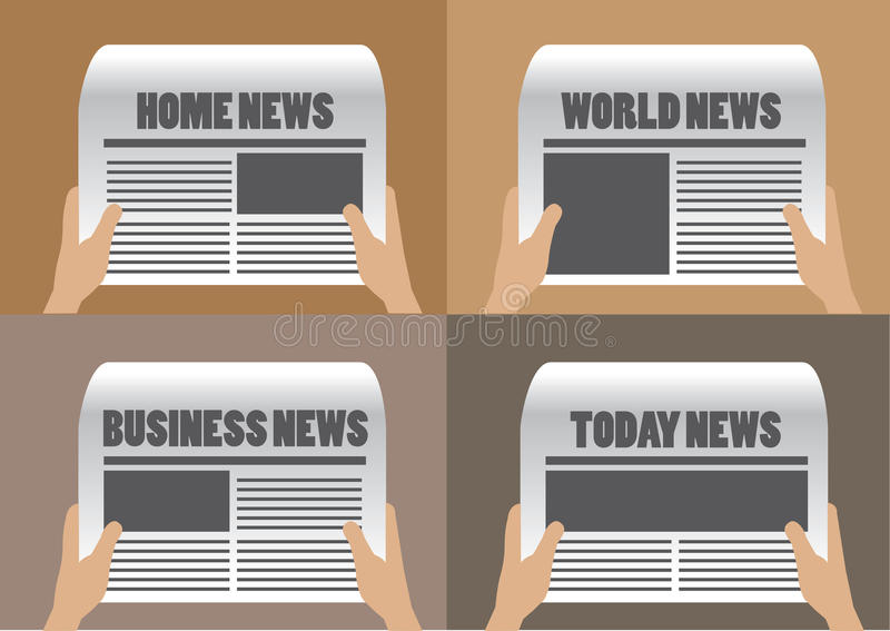 Newspaper Headlines Vector Illustration. Hands holding newspaper with different section titles and headlines. Set of four vector cartoon illustration isolated on stock illustration