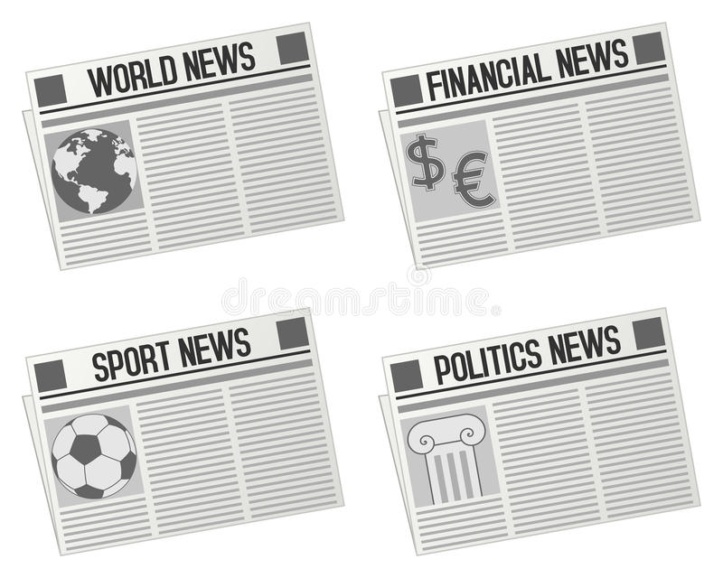 Newspaper Icons Collection royalty free illustration