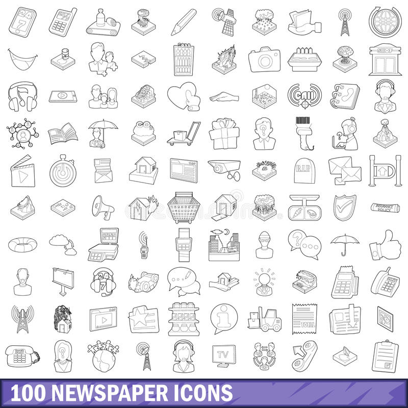 100 newspaper icons set, outline style stock illustration