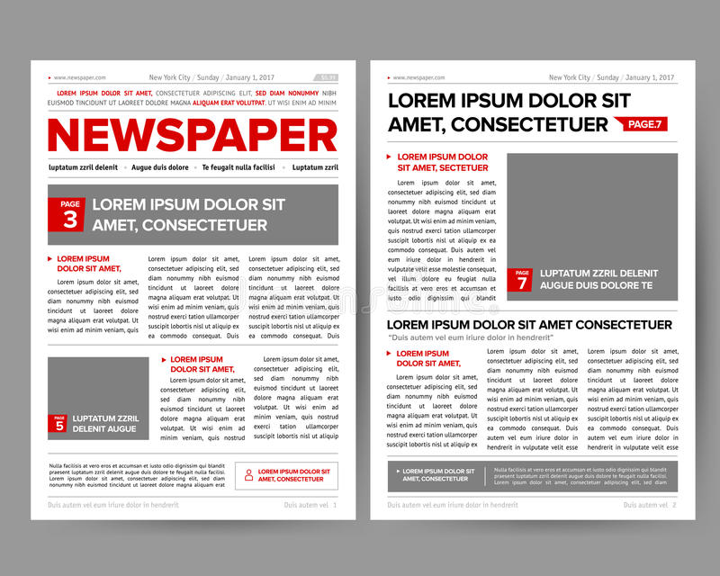 Daily Newspaper Journal Design Template With Two-page Opening Editable Headlines Quotes Text
