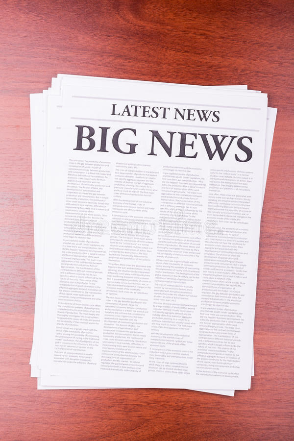 The newspaper LATEST NEWS. With the headline BIG NEWS stock photo
