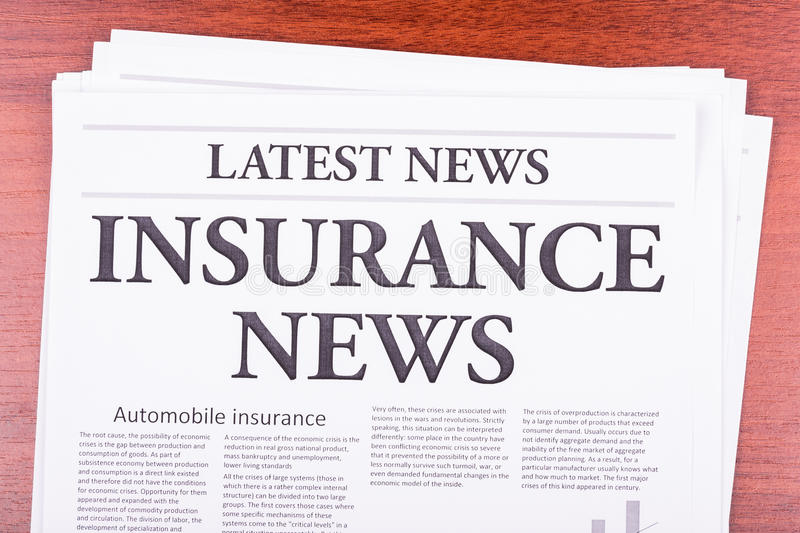 The newspaper Latest News. With the headline Insurance News royalty free stock images