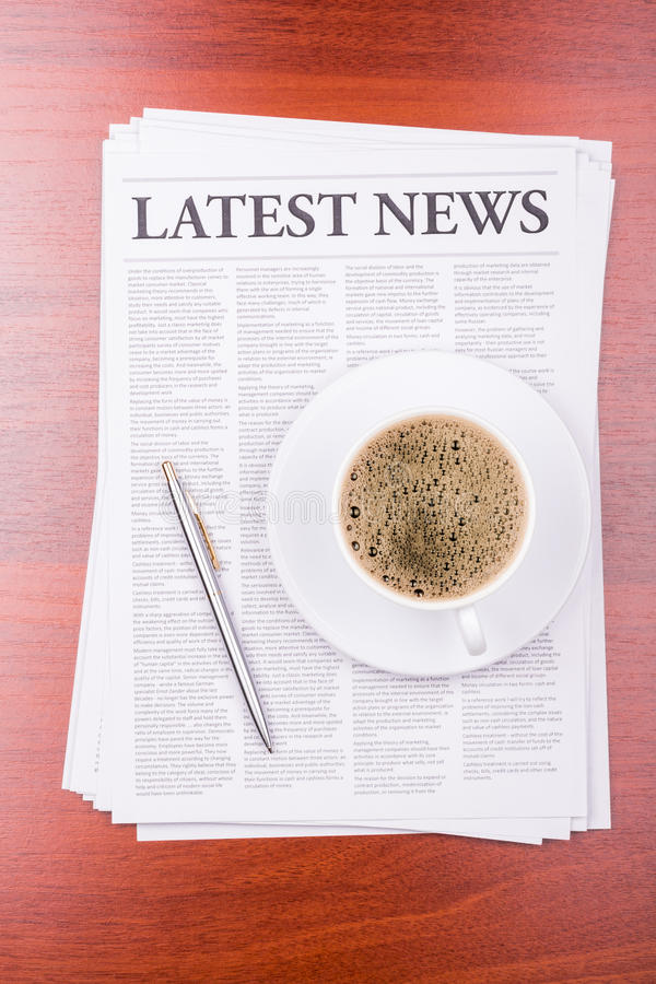 The newspaper Latest News. On table and coffee royalty free stock photos