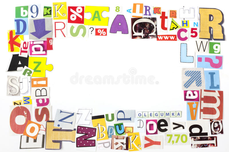 Newspaper letters frame background royalty free stock image