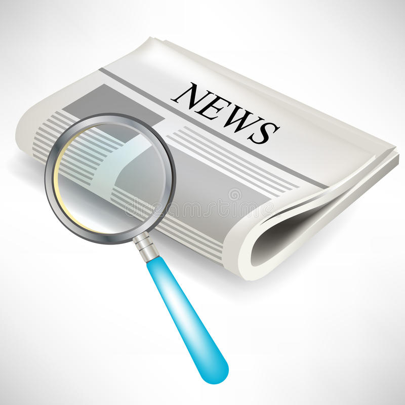 Newspaper with magnifying glass stock illustration