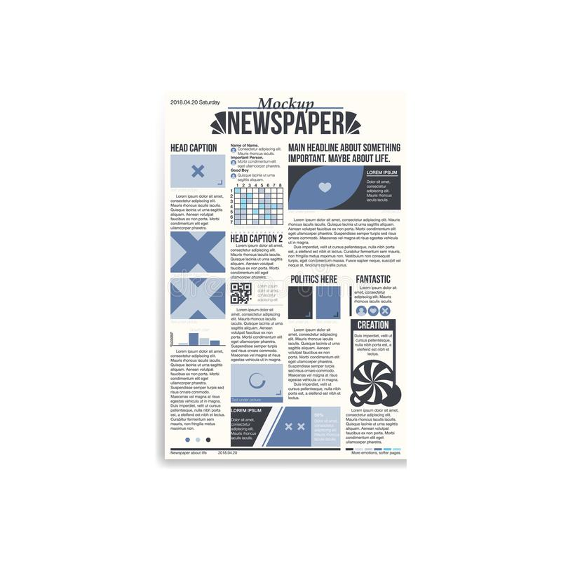 Newspaper main page mockup. Newspaper main page with blue design and copy space mockup royalty free illustration