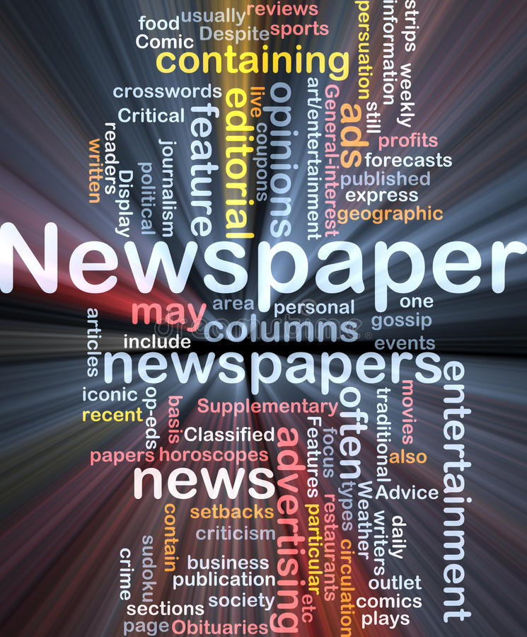 Newspaper news background concept glowing vector illustration
