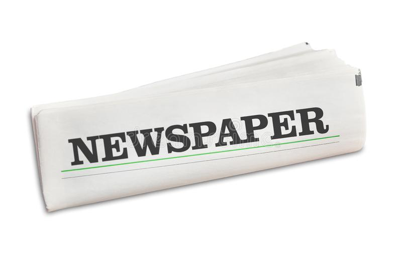 Newspaper newspaper isolated on white. Newspaper newspaper folded isolated on a white background stock photo