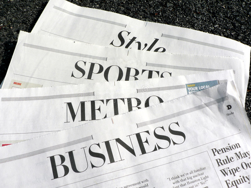 Newspaper - newspaper sections stock photos