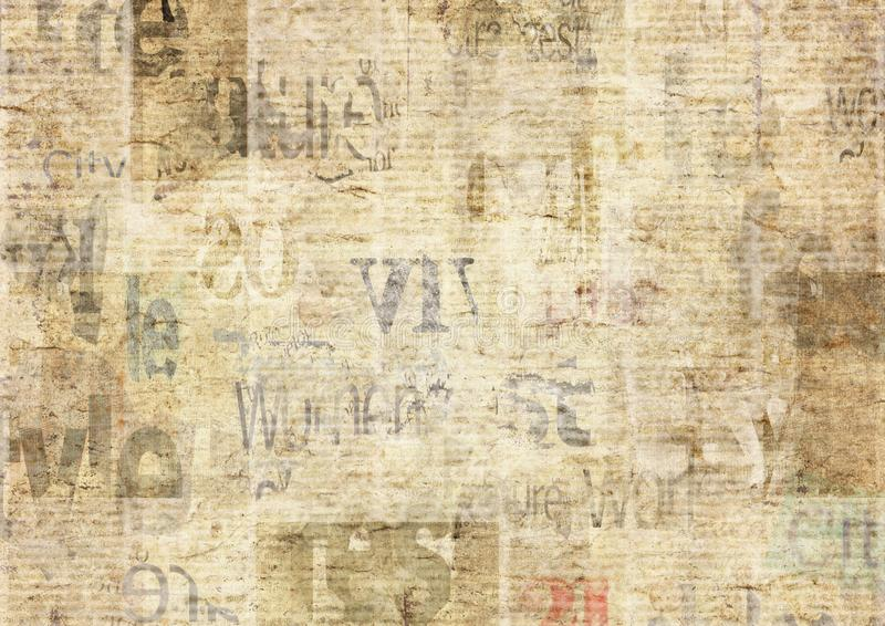 Newspaper with old grunge vintage unreadable paper texture background. Newspaper with old unreadable text. Vintage grunge blurred paper news texture horizontal royalty free stock photos