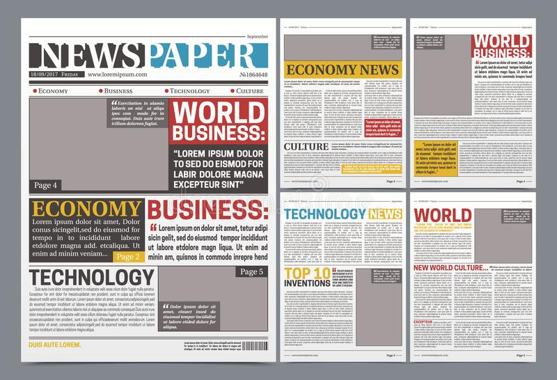 Newspaper Online Template Realistic Poster. Newspaper online template design poster with world top business news economy and technology headlines realistic vector illustration