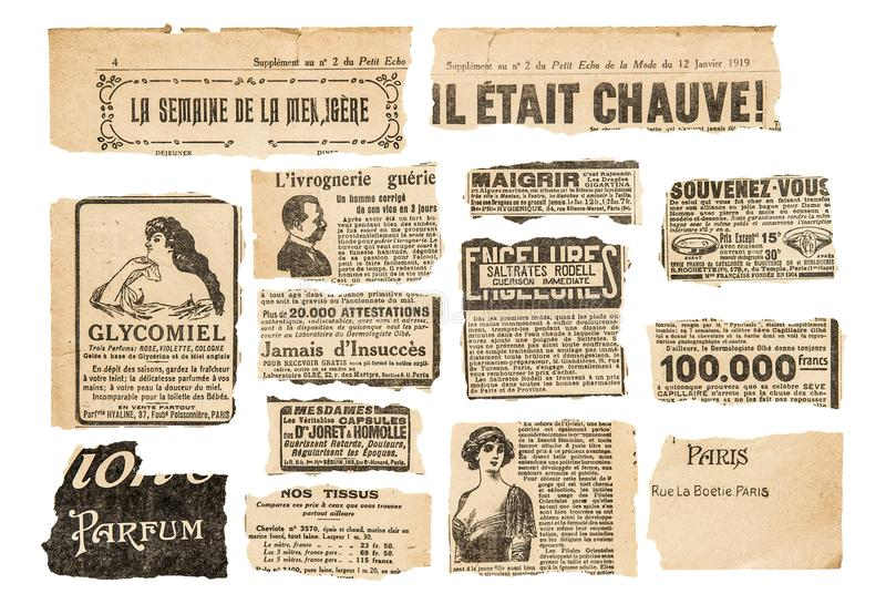 Newspaper pieces vintage advertising French magazine pages. Newspaper pieces with vintage advertising. French magazine pages stock photo