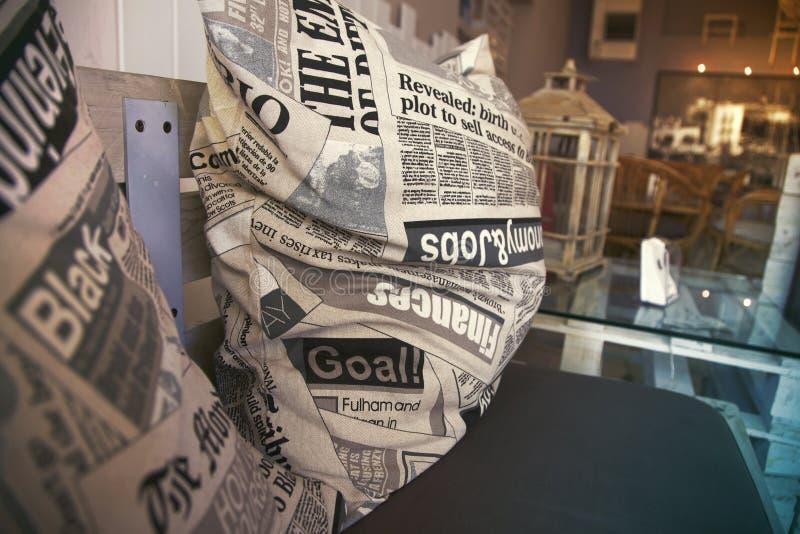 Newspaper pillows stock image