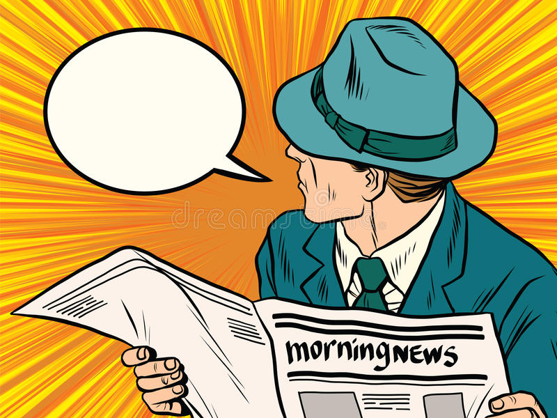 Newspaper reader reaction pop art stock illustration