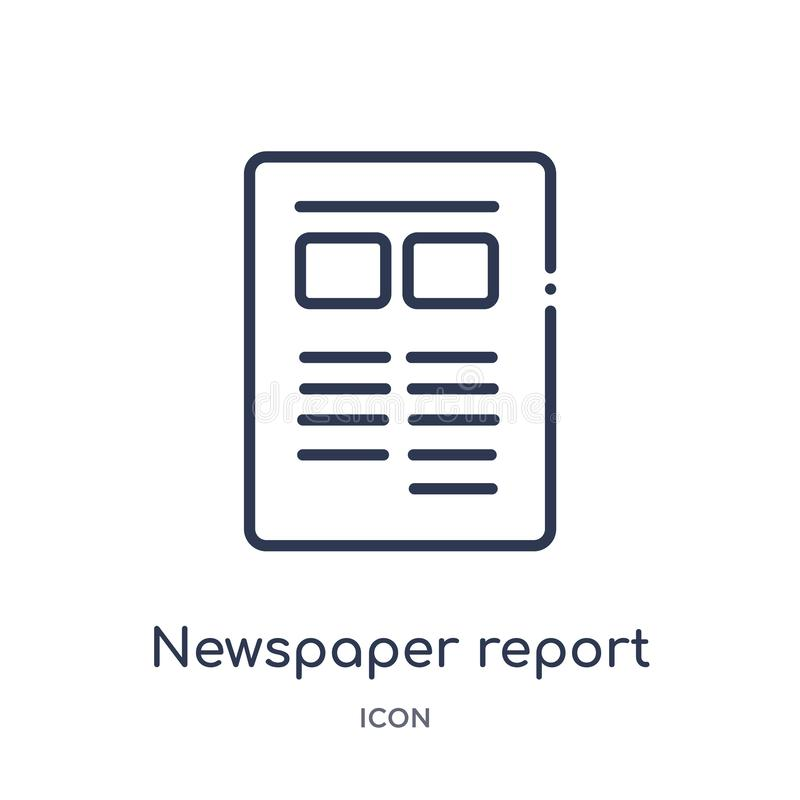 Newspaper report icon from music and media outline collection. Thin line newspaper report icon isolated on white background royalty free illustration