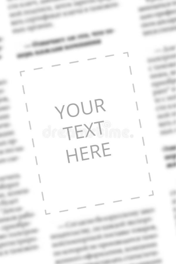 Newspaper sample with copy space for your text on the blurred columns background. Mockup for tabloid. Blurred text of. Paper columns with blank space for your royalty free stock photography
