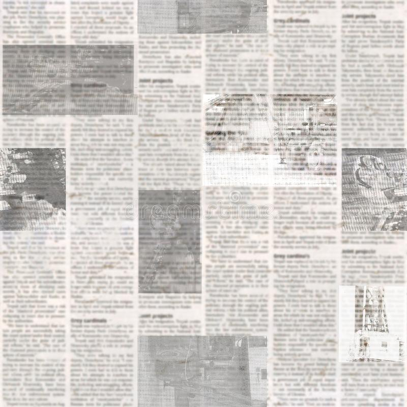 Newspaper seamless pattern with old vintage unreadable paper texture background. Newspaper seamless pattern with old unreadable text and images. Vintage blurred stock photos