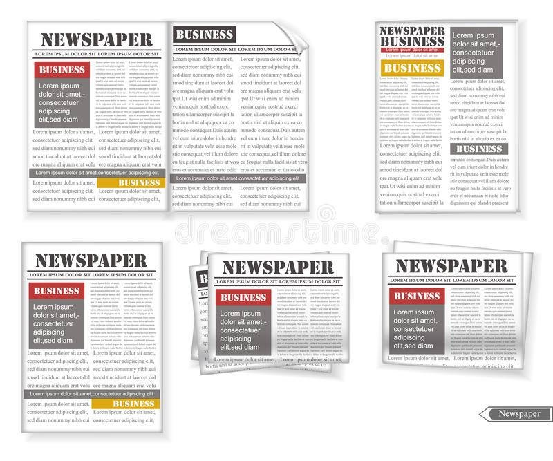 Newspaper set Vector realistic. 3d detailed illustrations vector illustration