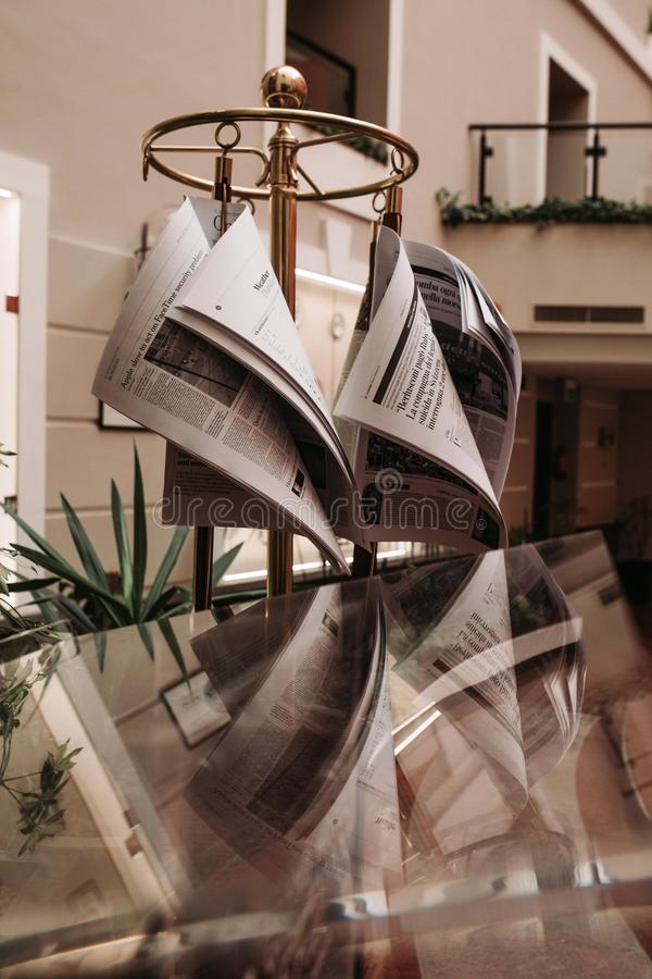 Newspaper stand at the hotel stock image