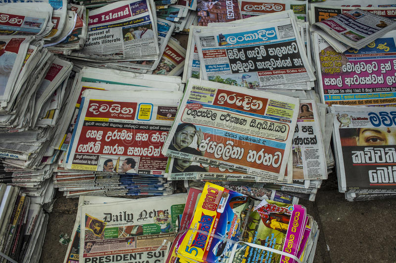 Newspaper stand in Kandy stock photography