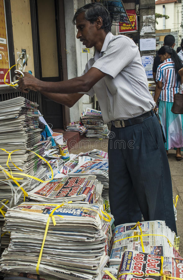 Newspaper stand in Kandy royalty free stock photo