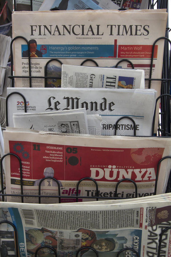 Newspaper stand stock photos