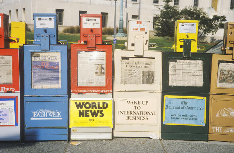 Newspaper stands stock images