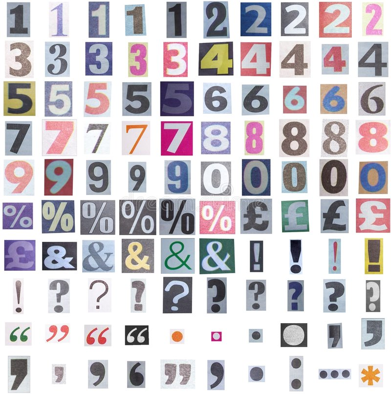 Newspaper symbols and numbers stock photography