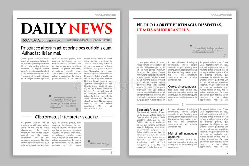 Newspaper Template Design Stock Vector Illustration Of Media
