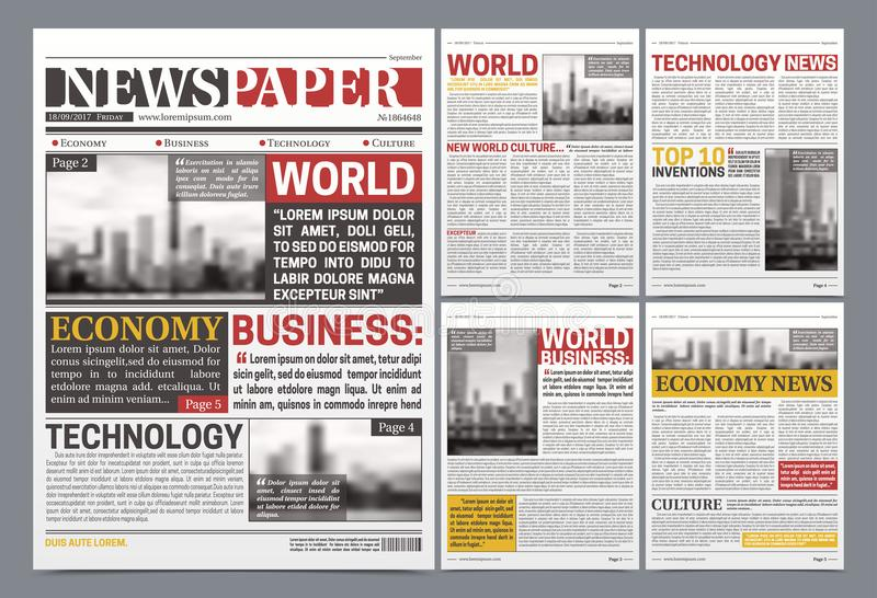 Newspaper Template Design Realistic Poster Stock Vector