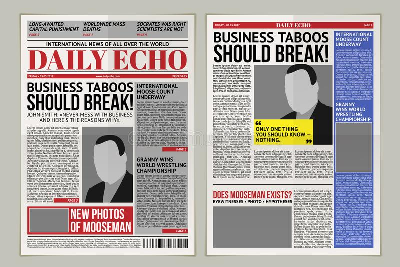 Daily Newspaper Template Tabloid Layout Posting Reportage Stock