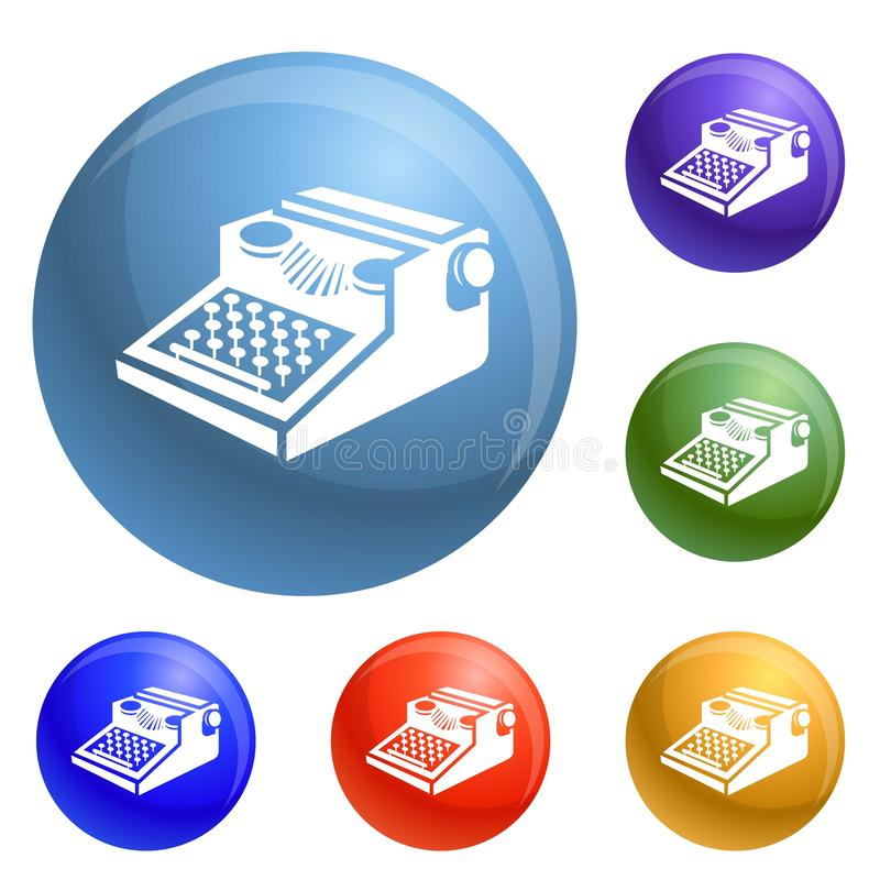 Newspaper typewriter icons set vector. 6 color isolated on white background vector illustration