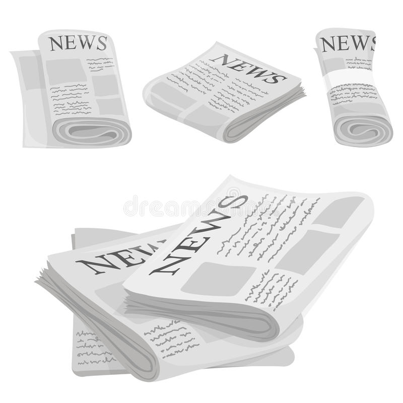 Newspaper vector icons with type and picture mockup royalty free illustration