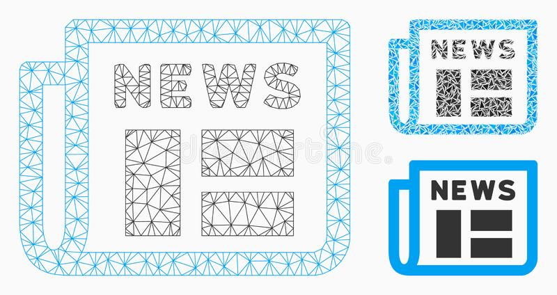 Newspaper Vector Mesh Carcass Model and Triangle Mosaic Icon. Mesh newspaper model with triangle mosaic icon. Wire carcass polygonal mesh of newspaper. Vector vector illustration