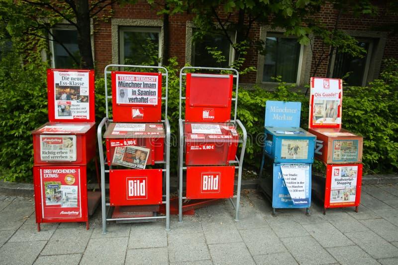 Newspaper vending machines. MUNICH, GERMANY - MAY 6, 2017 : Newspaper vending machines with tabloid Bild in Munich, Germany stock image