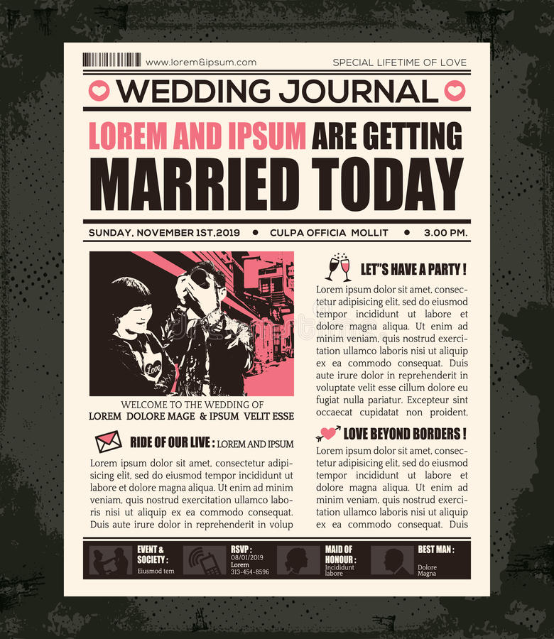 Newspaper Wedding Invitation Design Template royalty free illustration