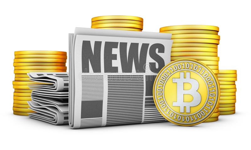 Newspapers and Bitcoins. Newspapers and stacks of coins Bitcoins. 3d rendering royalty free illustration