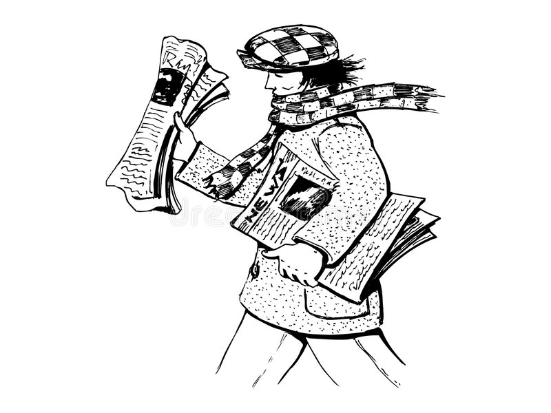 Newspapers delivery. Man delivering newspapers royalty free illustration