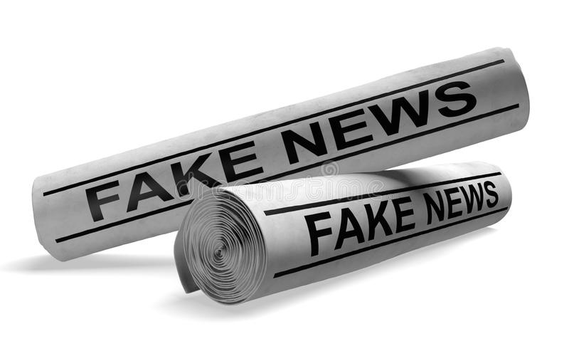 Newspapers with fake news headlines, representing outlets that publish hoaxes and disinformation, 3D rendering. Two rolled newspapers with headlines that say stock illustration