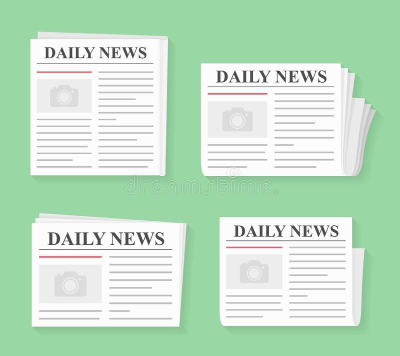 Newspapers. Four newspapers, daily news, flat style vector illustration