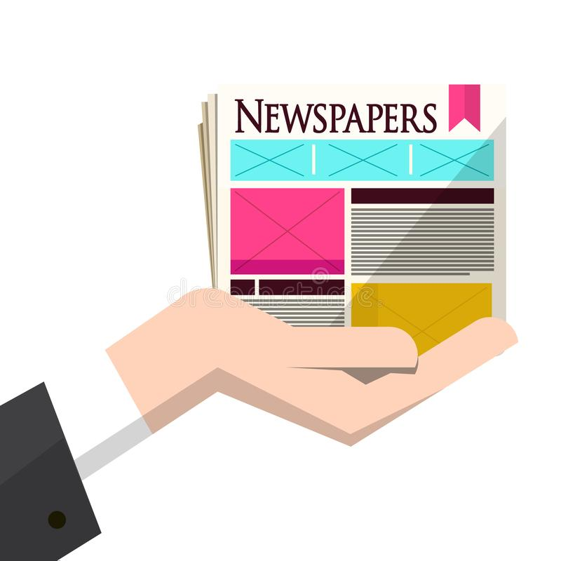 Newspapers in Human Hand Isolated. On White Background. Vector Information Concept Design royalty free illustration