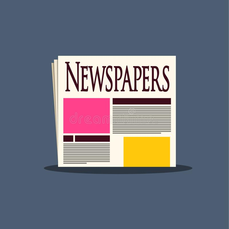 Newspapers Icon. Paper News Symbol. Vector Newspaper Media Concept stock illustration