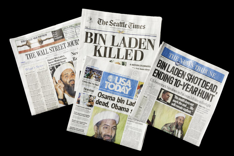 Newspapers, Osama bin Laden Dead, editorial. SEATTLE, WA - MAY 02: The Seattle Times and other U.S. newspapers report the death of Osama bin Laden on May 02 stock photography
