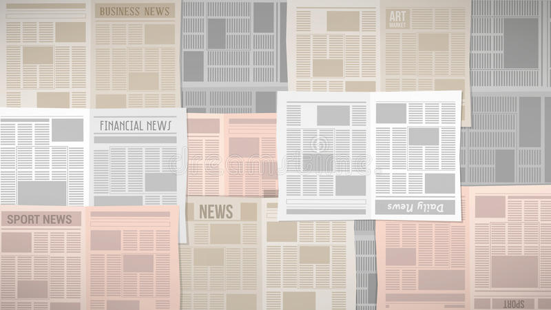 Newspapers texture. Old newspapers texture covering a table or a window stock illustration