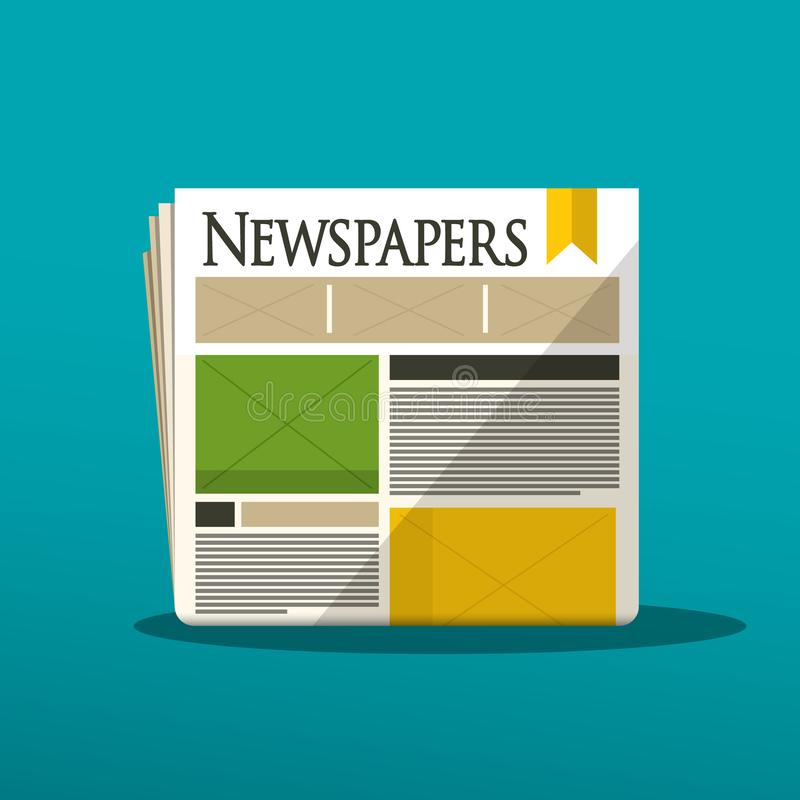 Newspapers Vector Icon. On Blue Background royalty free illustration
