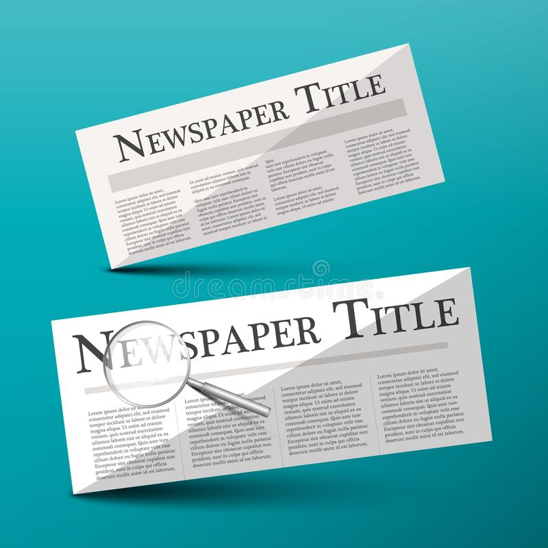 Newspapers Vector Illustration with Newspaper Title. Headline and Magnifying Glass stock illustration